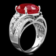 Load image into Gallery viewer, 13.10 Carats Impressive Natural Red Ruby and Diamond 14K White Gold Ring