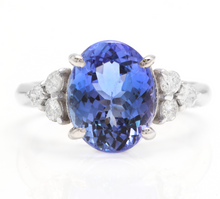 Load image into Gallery viewer, 3.85 Carats Natural Very Nice Looking Tanzanite and Diamond 14K Solid White Gold Ring
