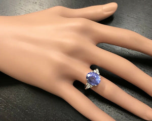 3.85 Carats Natural Very Nice Looking Tanzanite and Diamond 14K Solid White Gold Ring