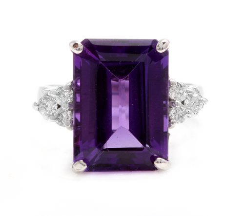 8.35 Carats Natural Impressive Amethyst and Diamond 14K White Gold Ring