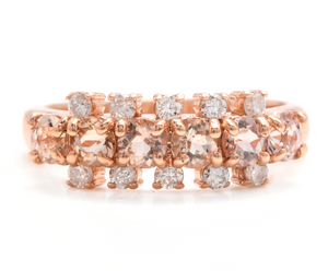 1.35 Carats Natural Morganite and Diamond 14K Solid Rose Gold Ring