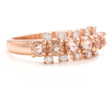 Load image into Gallery viewer, 1.35 Carats Natural Morganite and Diamond 14K Solid Rose Gold Ring