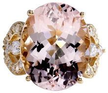 Load image into Gallery viewer, 12.00 Carats Exquisite Natural Morganite and Diamond 14K Solid Yellow Gold Ring