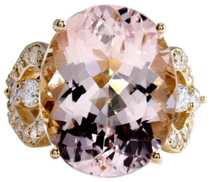 12.00 Carats Exquisite Natural Morganite and Diamond 14K Solid Yellow Gold Ring