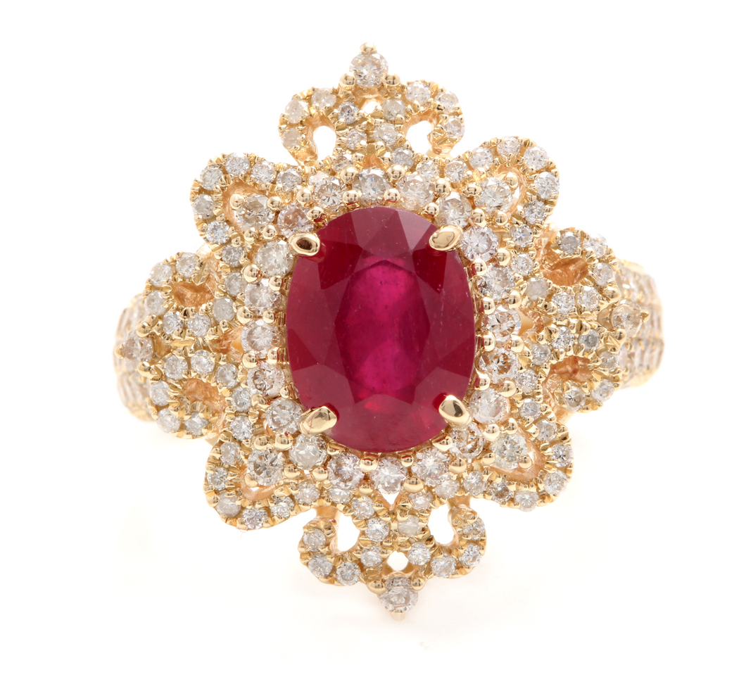 4.50 Carats Impressive Red Ruby and Natural Diamond 14K Solid Yellow Gold Ring