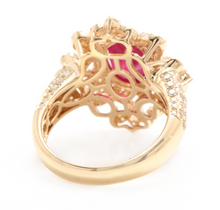 Load image into Gallery viewer, 4.50 Carats Impressive Red Ruby and Natural Diamond 14K Solid Yellow Gold Ring