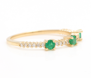 0.45 Carats Natural Emerald and Diamond 14K Solid Yellow Gold Ring