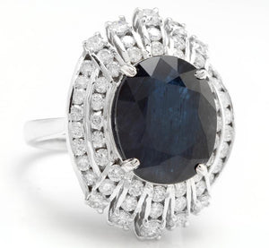 12.70 Carats Exquisite Natural Blue Sapphire and Diamond 14K Solid White Gold Ring