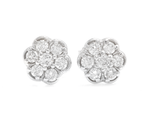 Exquisite 0.45 Carats Natural Diamond 14K Solid White Gold Stud Earrings