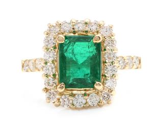 4.10 Carats Natural Emerald and Diamond 18K Solid Yellow Gold Ring