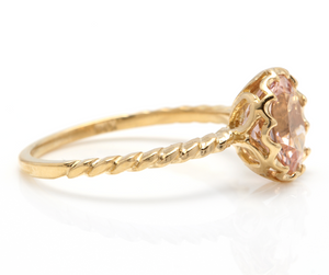 2.00 Carats Exquisite Natural Morganite 14K Solid Yellow Gold Ring