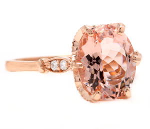 3.60 Carats Natural Morganite and Diamond 14K Solid Rose Gold Ring