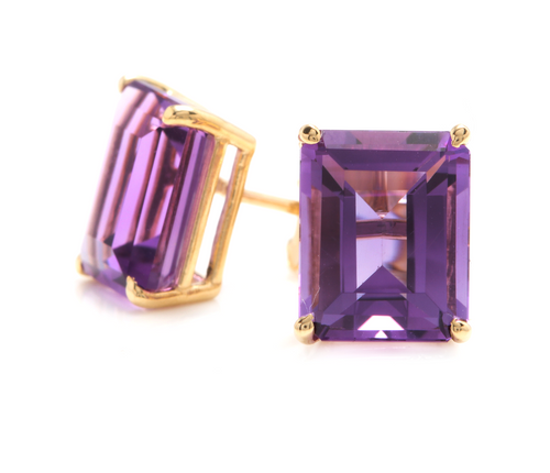Exquisite Top Quality 7.45 Carats Natural Amethyst 14K Solid Yellow Gold Stud Earrings