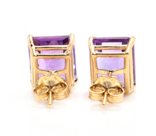 Load image into Gallery viewer, Exquisite Top Quality 7.45 Carats Natural Amethyst 14K Solid Yellow Gold Stud Earrings