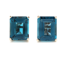 Load image into Gallery viewer, Exquisite Top Quality 7.45 Carats Natural London Blue Topaz 14K Solid White Gold Stud Earrings