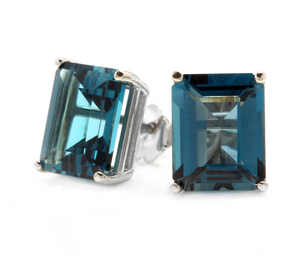 Exquisite Top Quality 7.45 Carats Natural London Blue Topaz 14K Solid White Gold Stud Earrings