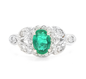 1.15 Carats Natural Emerald and Diamond 14K Solid White Gold Ring