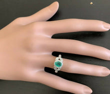 Load image into Gallery viewer, 1.15 Carats Natural Emerald and Diamond 14K Solid White Gold Ring