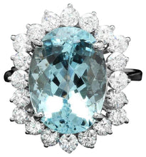 Load image into Gallery viewer, 8.35 Carats Natural Aquamarine and Diamond 14K Solid White Gold Ring