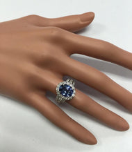 Load image into Gallery viewer, 4.10 Carats Natural Very Nice Looking Tanzanite and Diamond 14K Solid White Gold Ring