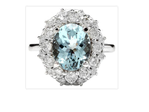 4.30 Carats Natural Aquamarine and Diamond 14K Solid White Gold Ring