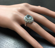 Load image into Gallery viewer, 4.30 Carats Natural Aquamarine and Diamond 14K Solid White Gold Ring