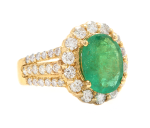 4.80 Carats Natural Emerald and Diamond 18K Solid Yellow Gold Ring