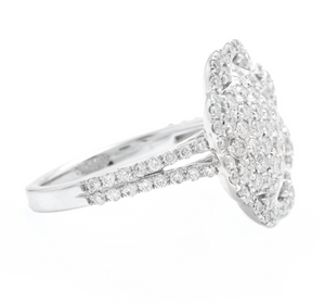 Estate Splendid 1.38 Carats Natural Diamond 14K Solid White Gold Ring