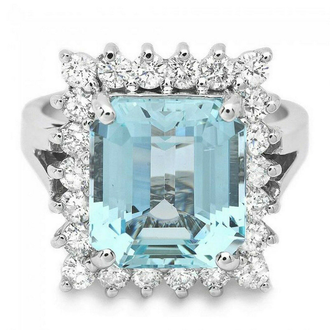 5.35 Carats Natural Aquamarine and Diamond 14K Solid White Gold Ring