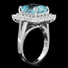 Load image into Gallery viewer, 5.35 Carats Natural Aquamarine and Diamond 14K Solid White Gold Ring