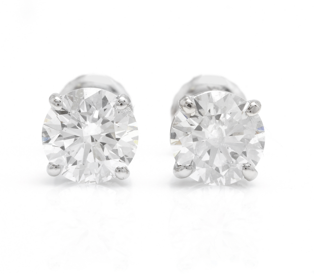 Exquisite 1.80 Carats Natural Diamond 14K Solid White Gold Stud Earrings