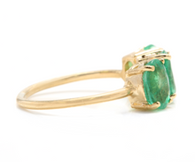 Load image into Gallery viewer, 2.50 Carats Natural Emerald and Diamond 14K Solid White Gold Ring