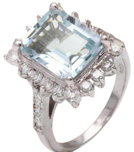 Load image into Gallery viewer, 9.20 Carats Natural Aquamarine and Diamond 14K Solid White Gold Ring