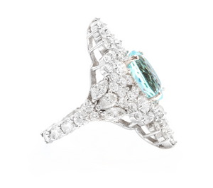 8.10 Carats Natural Impressive Natural Aquamarine and Diamond 14K White Gold Ring