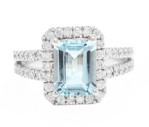 2.60 Carats Natural Aquamarine and Diamond 14K Solid White Gold Ring