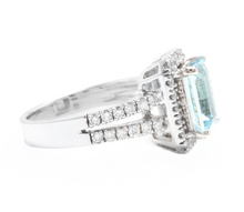 Load image into Gallery viewer, 2.60 Carats Natural Aquamarine and Diamond 14K Solid White Gold Ring