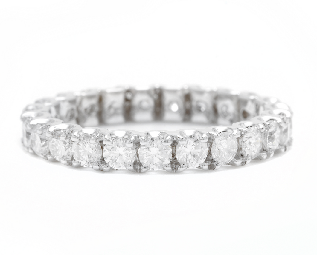 1.70 Carats Natural Diamond 14K Solid White Gold Eternity Ring