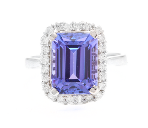 6.45 Carats Natural Very Nice Looking Tanzanite and Diamond 14K Solid White Gold Ring