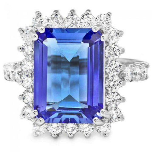 6.60 Carats Natural Very Nice Looking Tanzanite and Diamond 14K Solid White Gold Ring