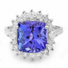 Load image into Gallery viewer, 5.20 Carats Natural Very Nice Looking Tanzanite and Diamond 14K Solid White Gold Ring