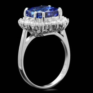 5.20 Carats Natural Very Nice Looking Tanzanite and Diamond 14K Solid White Gold Ring
