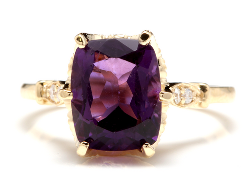 3.38 Carats Natural Amethyst and Diamond 14K Solid Yellow Gold Ring