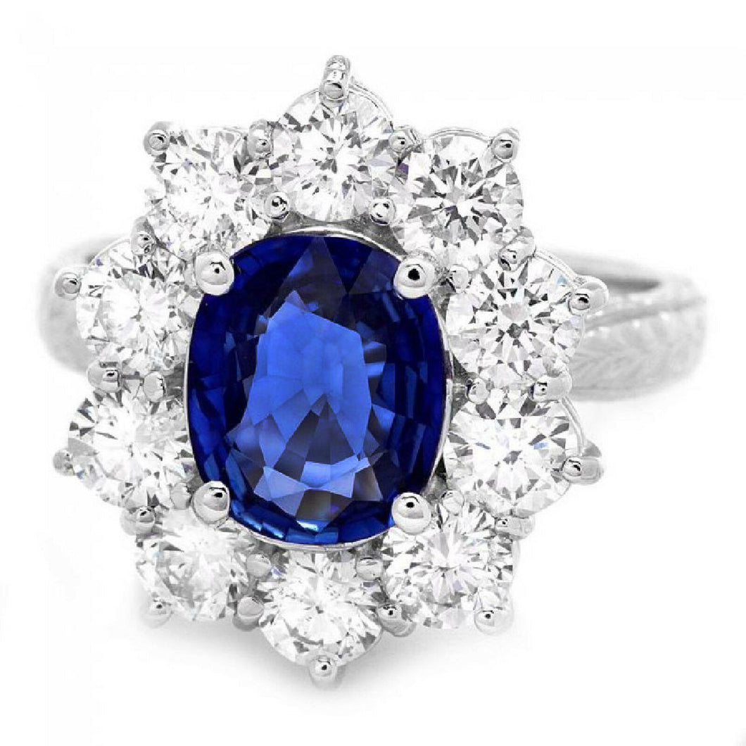 3.60 Carats Exquisite Natural Blue Sapphire and Diamond 18K Solid White Gold Ring