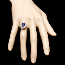 Load image into Gallery viewer, 3.60 Carats Exquisite Natural Blue Sapphire and Diamond 18K Solid White Gold Ring