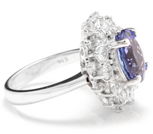 Load image into Gallery viewer, 4.30 Carats Natural Very Nice Looking Tanzanite and Diamond 14K Solid White Gold Ring