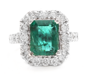 5.30 Carats Natural Emerald and Diamond 14K Solid White Gold Ring