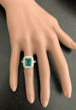 Load image into Gallery viewer, 5.30 Carats Natural Emerald and Diamond 14K Solid White Gold Ring