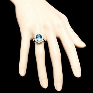 6.80 Carats Natural Very Nice Looking Zircon and Diamond 14K Solid White Gold Ring