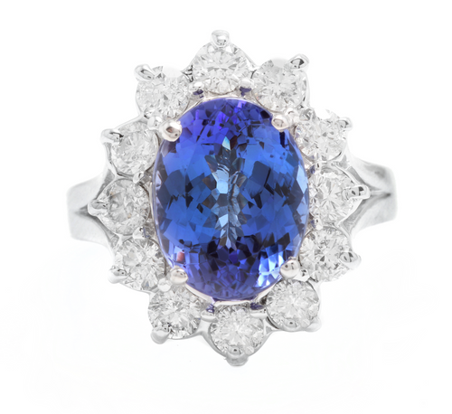 5.90 Carats Natural Tanzanite and Diamond 14k Solid White Gold Ring
