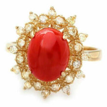 Load image into Gallery viewer, 3.55 Carats Impressive Coral and Diamond 14K Yellow Gold Ring